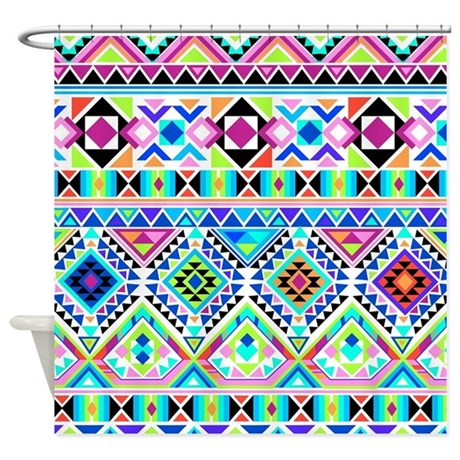 Colorful Tribal Geometric Pattern Shower Curtain By Admin