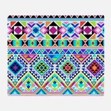 Colorful Tribal Geometric Pattern Throw Blanket