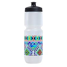 Colorful Tribal Geometric Pattern Sports Bottle