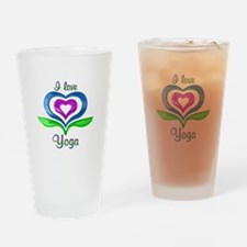 I Love Yoga Hearts Drinking Glass