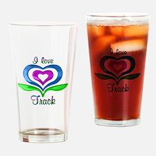 I Love Track Hearts Drinking Glass