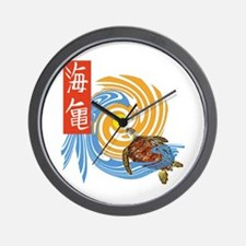 SEA TURTLE IN JAPANESE Wall Clock