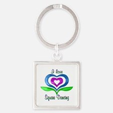 I Love Square Dancing Hearts Square Keychain