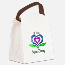 I Love Square Dancing Hearts Canvas Lunch Bag