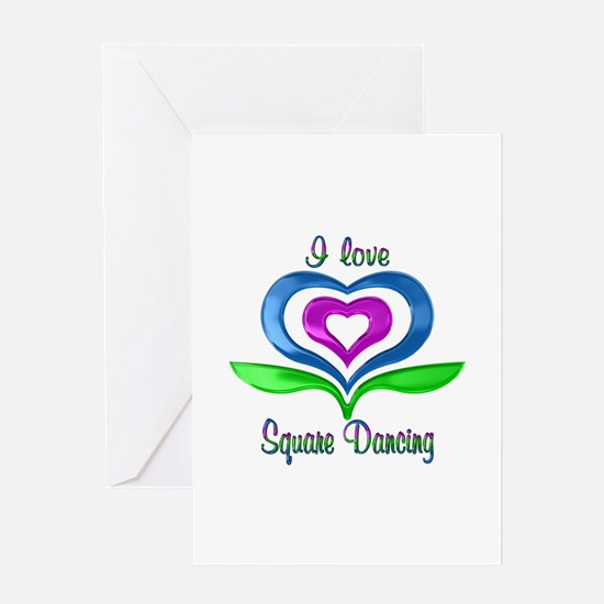 I Love Square Dancing Hearts Greeting Card