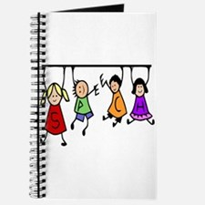 Cute Kids Cartoon Holding Speech Words Journal