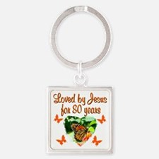 BLESSED 80TH Square Keychain