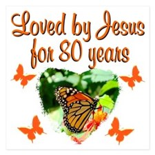 BLESSED 80TH 5.25 x 5.25 Flat Cards