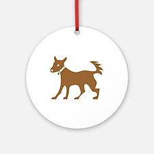 Brown Dog Silhouette Round Ornament