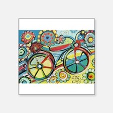 "Funny Bicycle Square Sticker 3"" x 3"""