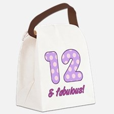 12th Birthday Dots Canvas Lunch Bag