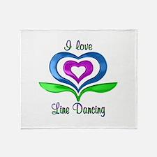 I Love Line Dancing Hearts Throw Blanket