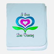 I Love Line Dancing Hearts baby blanket