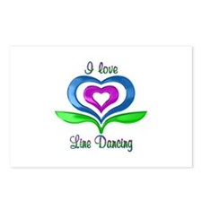 I Love Line Dancing Heart Postcards (Package of 8)