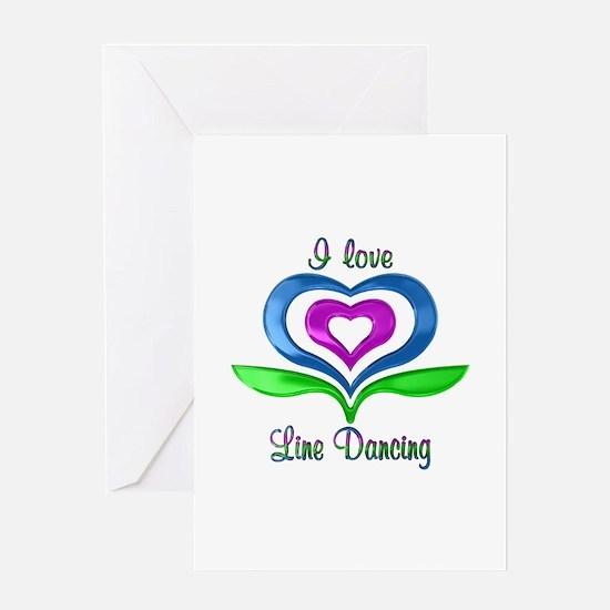 I Love Line Dancing Hearts Greeting Card