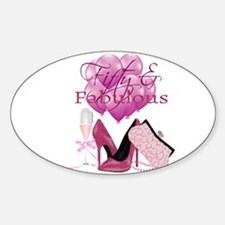 Fifty & Fabulous Pink Glitter Decal