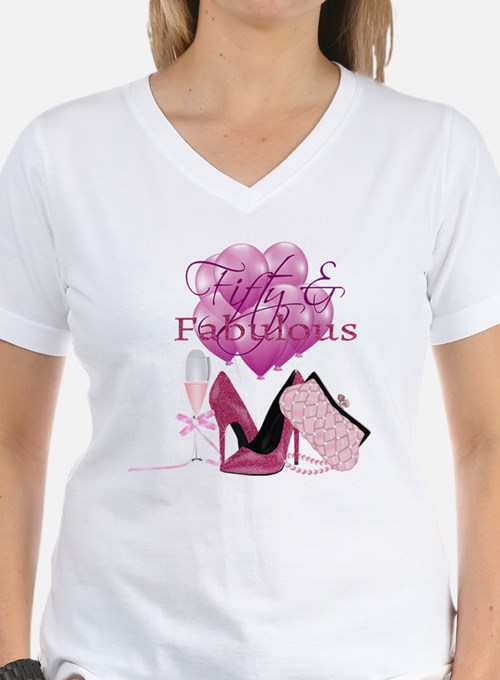 Fifty & Fabulous Pink Glitter T-Shirt