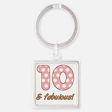 10th Birthday Dots Square Keychain