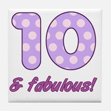 10th Birthday Dots Tile Coaster
