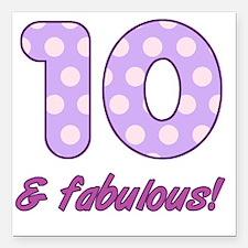 "10th Birthday Dots Square Car Magnet 3"" x 3"""
