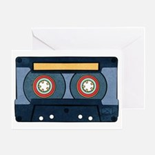 Blue Cassette Greeting Cards