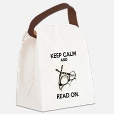 Keep Calm and Read On Glasses Canvas Lunch Bag