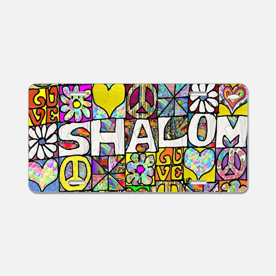 Psychedelic Shalom Aluminum License Plate