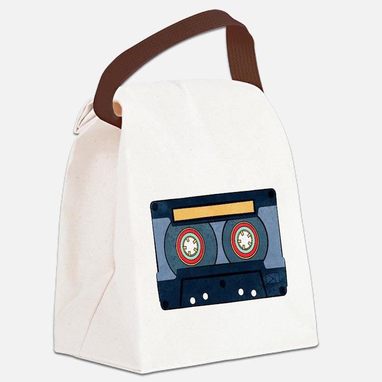 Blue Cassette Canvas Lunch Bag