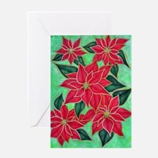 Red and Green Poinsetta Greeting Cards