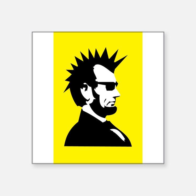 """Cute Abe lincoln Square Sticker 3"""" x 3"""""""