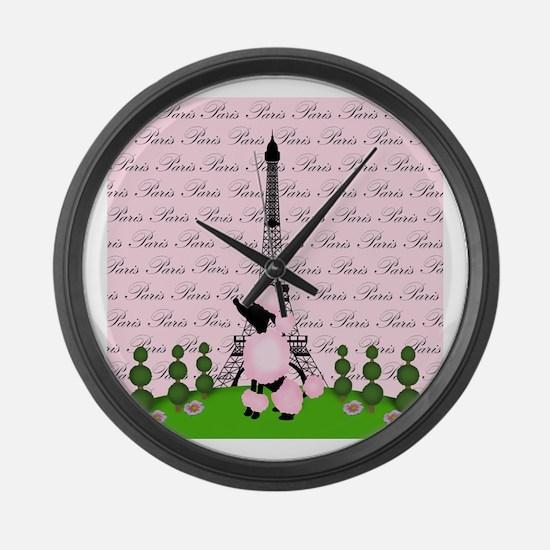 Pink Paris Eiffel Tower Poodle Black Large Wall Cl