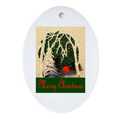 MERRY CHRISTMAS ~ SNOWING Oval Ornament