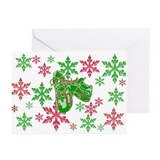 Running Shoes & Snowflakes Greeting Cards (Pk of 2