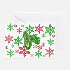 Running Shoes & Snowflakes Greeting Card