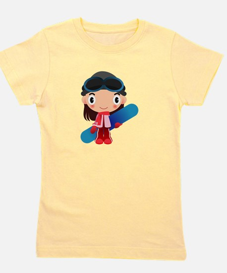 Snowboarder Girl Cartoon T-Shirt
