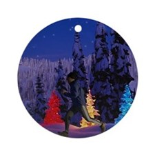 Silent Night - Christmas Scen Ornament (Round)