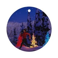 Runner's Holiday Scene (Female Runner) Ornament (R