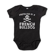 Protected By A French Bulldog Baby Bodysuit