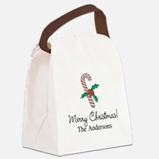 Personalized Christmas candy cane Canvas Lunch Bag