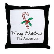 Personalized Christmas candy cane Throw Pillow