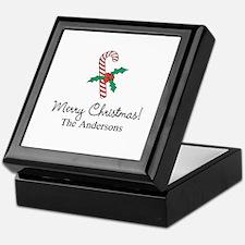 Personalized Christmas candy cane Keepsake Box