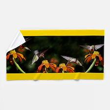 Hummingbird Bird Sunflower Flower Beach Towel