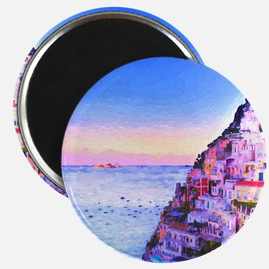 Digital Painting Of Positano Italy Sunset Magnets