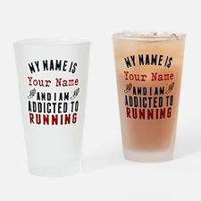 Addicted To Running Drinking Glass