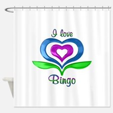 I Love Bingo Hearts Shower Curtain