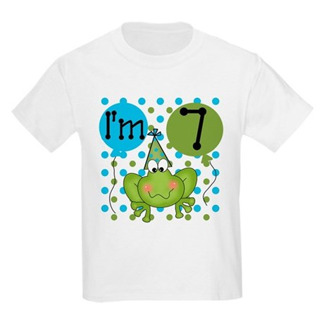 Frog 7th Birthday Kids Light T-Shirt
