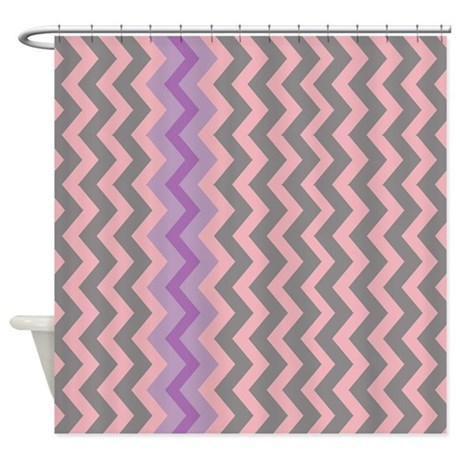 Pink And Gray Chevron With Purple Shower Curtain By Chevroncitypart2