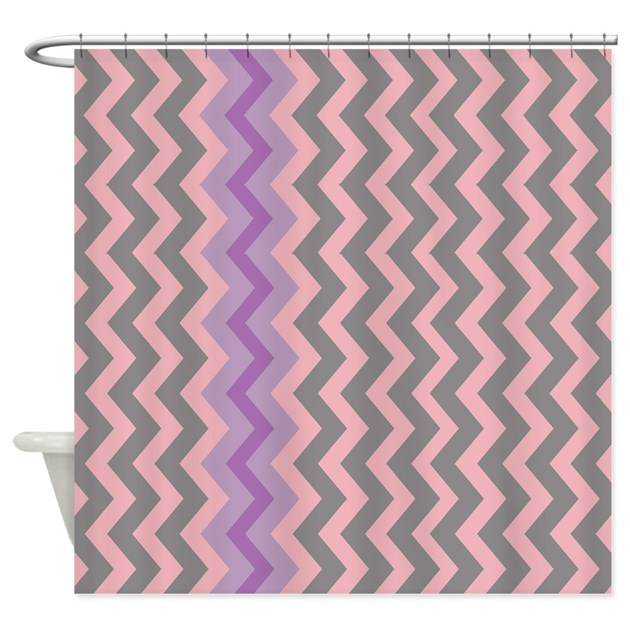 Pink And Gray Chevron With Purple Shower Curtain By