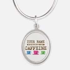 Powered by Caffeine Silver Oval Necklace