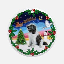 Landseer Newfie Holly Wreath Ornament (Round)